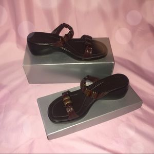 Authentic brown leather Matisse wedge sandals